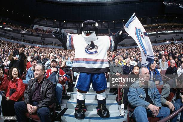 Vancouver Canucks mascot Fin stands in the crowd during the NHL game against the Montreal Canadiens at GM Place in Vancouver, Canada. The Canucks...