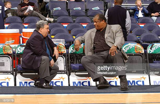 Wes Unseld the Washington Wizards GM and Jerry Krause the Chicago Bulls GM talk prior to a game at the MCI Center in Washington DC DIGITAL IMAGE NOTE...