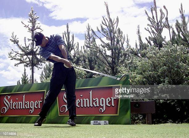 World No.1 Tiger Woods tees off with his driver on the Par 4 sixth hole during the second round of the New Zealand Open at the Paraparaumu Beach Golf...
