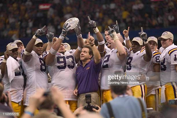 The LSU Tigers celebrate after their 2114 victory over the Oklahoma Sooners in the Nokia Sugar Bowl at the Superdome in New Orleans LA