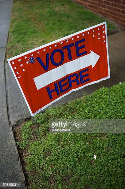 Jan 21 2012 Greer SC US Placards direct voters to cast their ballots at Crossroads Baptish Church for the South Carolina Primary Polls are open from...