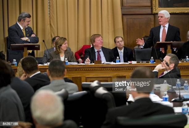 Chairman David R Obey DWis left and ranking member Jerry Lewis RCalif far right during the House Appropriations markup of an economic stimulus...
