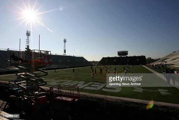 Jan 22 2009 Mobile Alabama USA The sun rises during practice for the Senior Bowl's North Team at LaddPeebles Stadium
