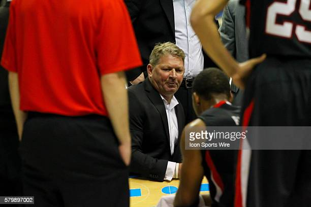 Jan 22 2015 Virginia Military Keydets head coach Duggar Baucom talks to his boys during the 1st half of the game between VMI and Chattanooga...