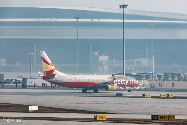 Jan. 22, 2021 -- A B737-800 airliner from the Lucky Air airlines taking part in the flight-test ceremony lands at the Chengdu Tianfu International...