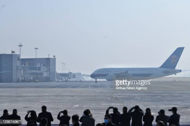 Jan. 22, 2021 -- An A380 airliner from the China Southern Airlines taking part in the flight-test ceremony heads for the terminal building at the...
