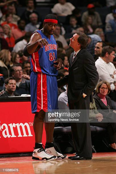 Jan 24 2007 Charlotte NC USA Detroit Pistons head coach FLIP SAUNDERS CHRIS WEBBER against Charlotte Bobcats on Jan 24 at the Charlotte Bobcats Arena...