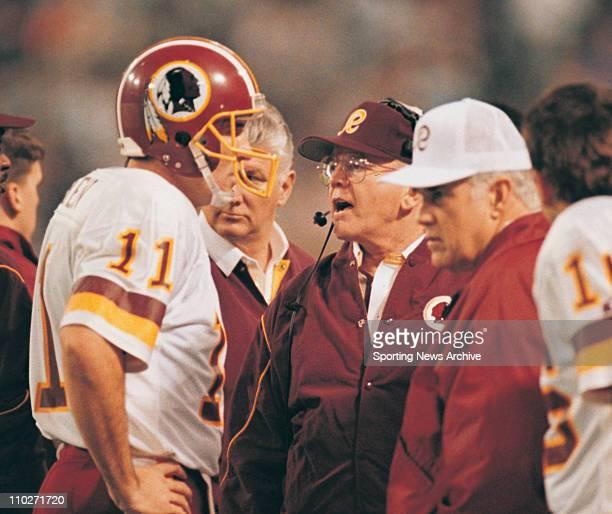 Jan 26 1992 Minneapolis Minnesota USA Washington Redskins MARK RYPIEN with head coach JOE GIBBS against the Buffalo Bills in Super Bowl 26 at...