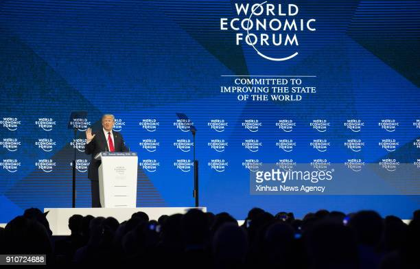 DAVOS Jan 26 2018 US President Donald Trump delivers a speech during the 48th annual meeting of the World Economic Forum in Davos Switzerland on Jan...