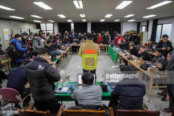 Jan 26 2018Miryang South KoreaSouth Korean Fire fighter chief briefing at temporary press room near hospital in Miryang South Korea A fire gutted the...