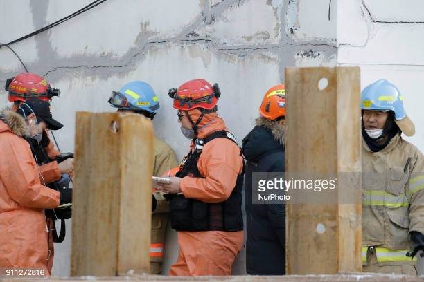 Jan 26 2018Miryang South KoreaSouth Korean Fire fighters investgation at fired hospital Miryang south Korea A fire gutted the ground floor of a...