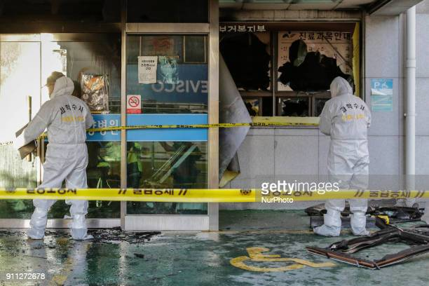 Jan 26 2018Miryang South KoreaSouth Korean Police man investgation at hospital in Miryang South Korea A fire gutted the ground floor of a hospital in...