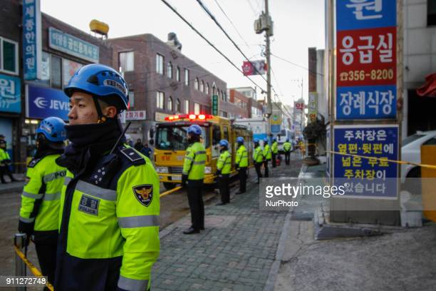 Jan 26 2018Miryang South KoreaSouth korean police mans stand guard at front hospital in Miryang south Korea A fire gutted the ground floor of a...