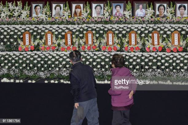 Jan 27 2018Miryang South KoreaMourners visit for victims at the South Korean Hospital Fire a Group Memorial Altar in Miryang South Korea A fire...