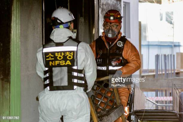 Jan 27 2018Miryang South KoreaSouth Korean Investgators inspection and scanning at blaze hospital in Miryang Spouth Korea A fire gutted the ground...