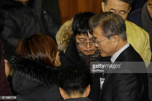 Jan 27 2018Miryang South KoreaSouth Korean President Moon Jaein consoles a family member of victims in a hospital fire as he visits a joint memorial...