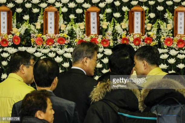 Jan 27 2018Miryang South KoreaSouth Korean President Moon Jaein mourn for victims and their family at joint memorial alta in Miryang South Korea A...