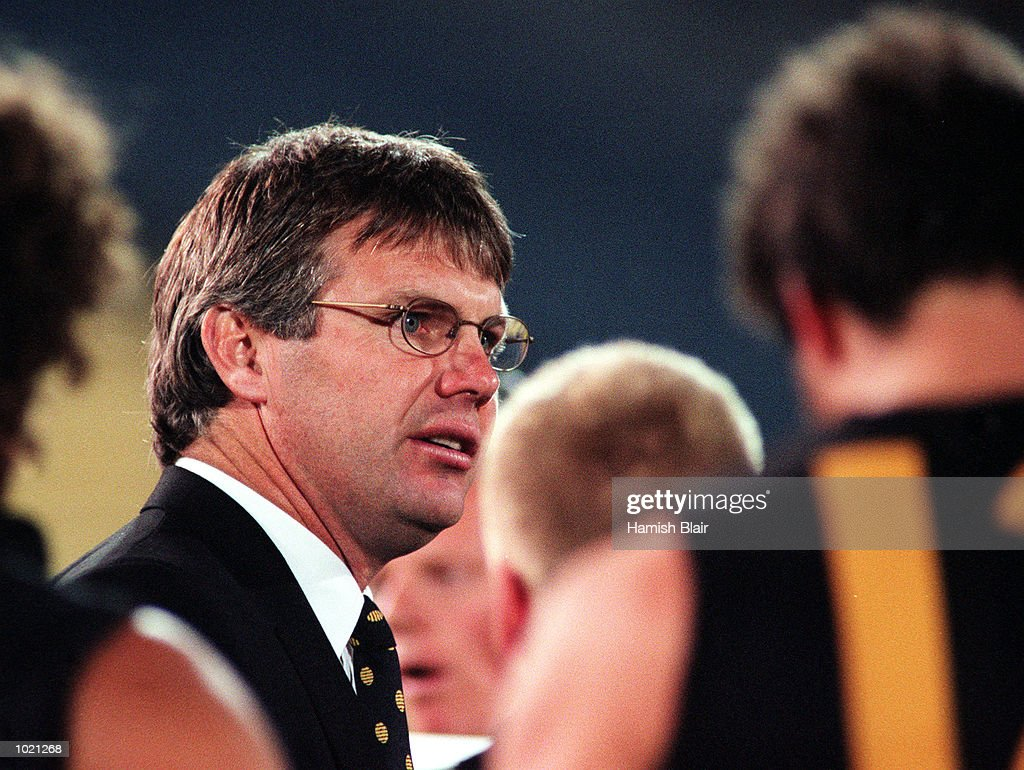 Danny Frawley coach of Richmond addresses his team, during the pre season Ansett Cup match between the Kangaroos and Richmond at Waverley Park, Melbourne, Australia. Mandatory Credit: Hamish Blair/ALLSPORT