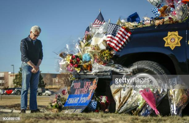 DENVER Jan 3 2018 Don Bodemann of Highlands Ranch mourns for Douglas County Sheriff's Deputy Zackari Parrish who was shot and killed in the line of...