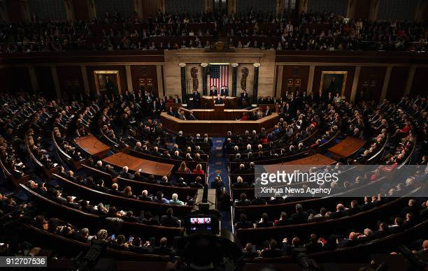 WASHINGTON Jan 31 2018 US President Donald Trump delivers his State of the Union address to a joint session of Congress on Capitol Hill in Washington...