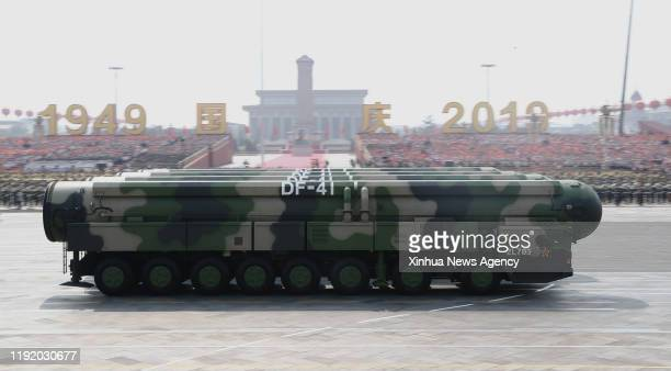 Jan. 5, 2020 -- Dongfeng-41 intercontinental strategic nuclear missiles are reviewed in a military parade celebrating the 70th founding anniversary...