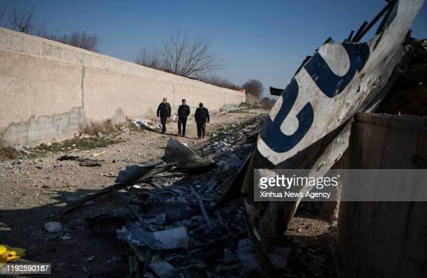 TEHRAN Jan 8 2020 Photo taken on Jan 8 2020 shows the air crash site of a Boeing 737 Ukrainian passenger plane in Parand district southern Tehran...