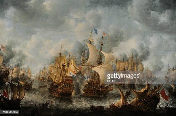 Jan Abrahamsz Beerstraten Dutch painter The Battle of Terheide 16531666 Rijksmuseum Amsterdam Holland