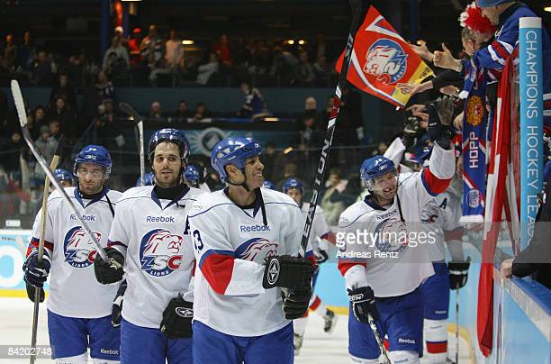 Jan Alston and his teammates of Lions Zurich celebrate after the IIHF Champions Hockey League semi-final match between Espoo Blues and ZSC Lions...