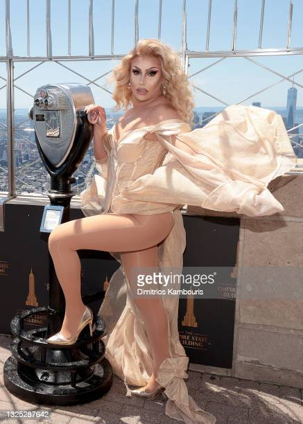 """Jan attends as Empire State Building hosts the cast of """"RuPaul's Drag Race All Stars"""" Season 6 on June 24, 2021 in New York City."""