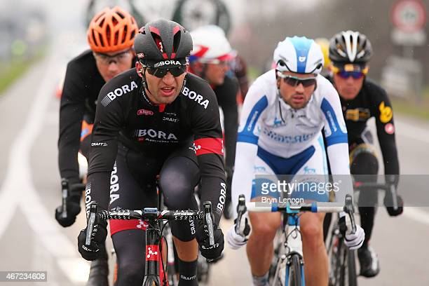 Jan Barta of the Czech Republic and Bora Argon 18 leads a reakaway group during the 2015 MilanSanRemo cycle race on March 22 2015 in Milan Italy