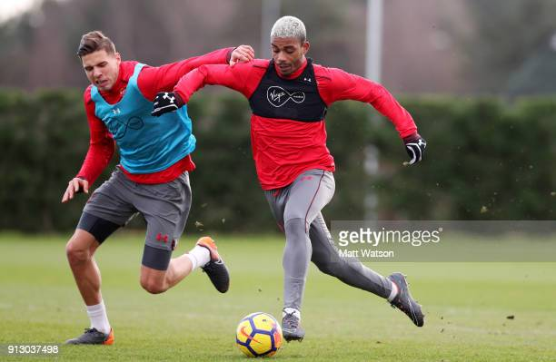 Jan Bednarek and Mario Lemina of Southampton FC during a training session at the Staplewood Campus on February 1 2018 in Southampton England