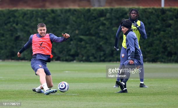 Jan Bednarek and Takumi Minamino during a Southampton FC training session at the Staplewood Campus on April 10, 2021 in Southampton, England.