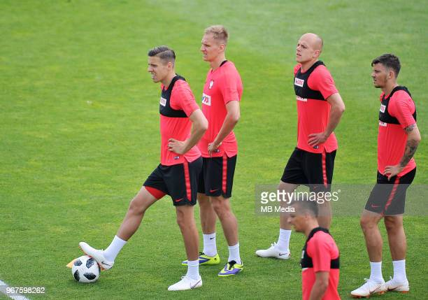 Jan Bednarek Lukasz Teodorczyk Rafal Kurzawa and Dawid Kownacki of Poland during a training session of the Polish national team at Arlamow Hotel...