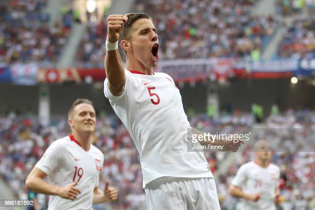 Jan Bednarek of Poland celebrates after scoring his team's first goal during the 2018 FIFA World Cup Russia group H match between Japan and Poland at...
