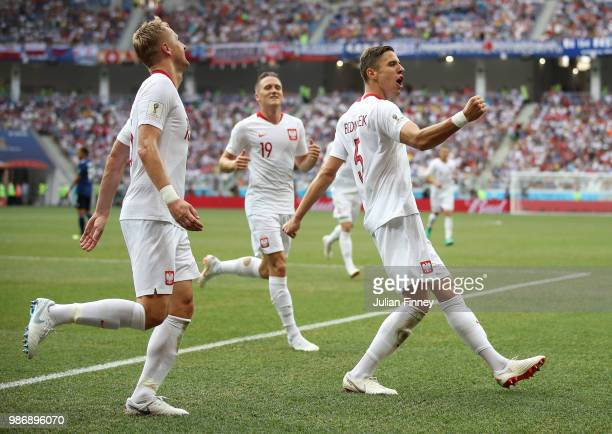 Jan Bednarek of Poland celebrates after scoring to make it 10 during the 2018 FIFA World Cup Russia group H match between Japan and Poland at...