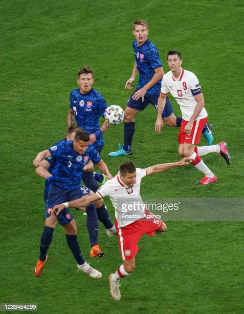 Jan Bednarek of Poland in action during EURO 2020 Group E soccer match between Poland and Slovakia at Krestovsky Stadium in Saint Petersburg, Russia...