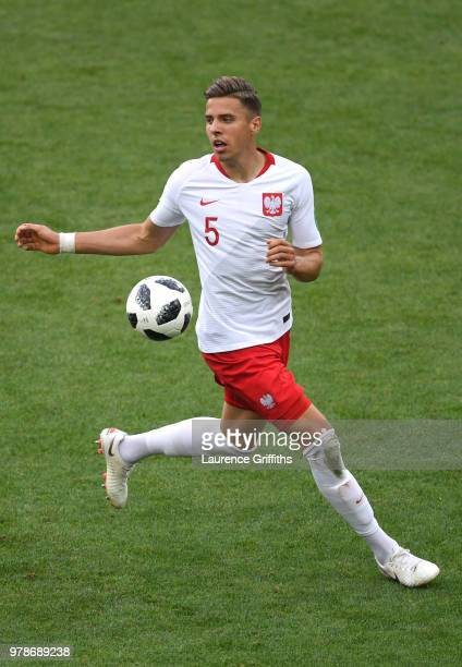 Jan Bednarek of Poland runs with the ball during the 2018 FIFA World Cup Russia group H match between Poland and Senegal at Spartak Stadium on June...