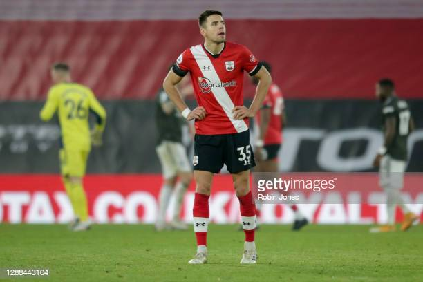 Jan Bednarek of Southampton after his side's 32 defeat during the Premier League match between Southampton and Manchester United at St Mary's Stadium...