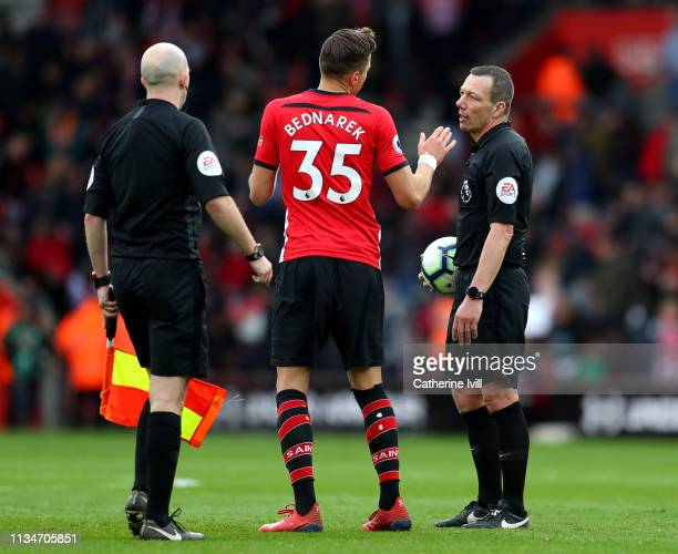 Jan Bednarek of Southampton appeals to referee Kevin Friend during the Premier League match between Southampton FC and Tottenham Hotspur at St Mary's...