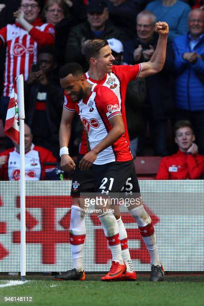 Jan Bednarek of Southampton celebrates after scoring his sides second goal during the Premier League match between Southampton and Chelsea at St...