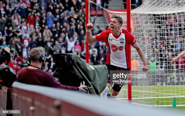 Jan Bednarek of Southampton celebrates during the Premier League match between Southampton and Chelsea at St Mary's Stadium on April 14, 2018 in...