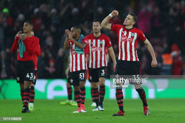 Jan Bednarek of Southampton celebrates victory after the Premier League match between Southampton FC and Arsenal FC at St Mary's Stadium on December...
