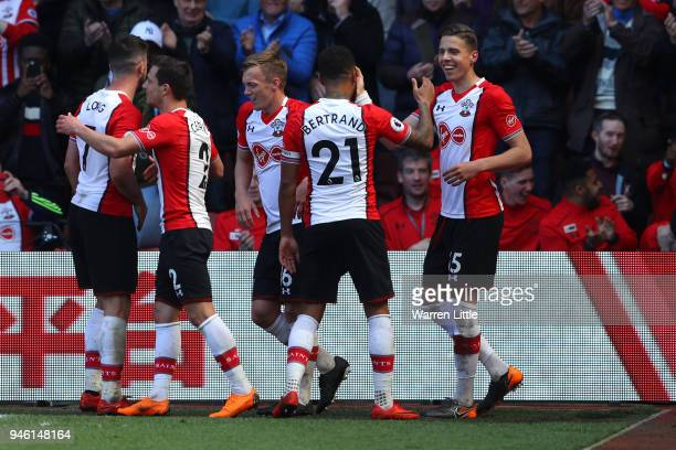 Jan Bednarek of Southampton celebrates with teammates after scoring his sides second goal during the Premier League match between Southampton and...