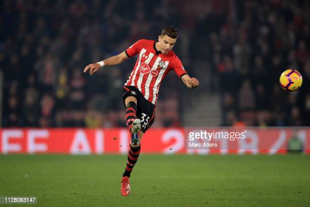 Jan Bednarek of Southampton during the Premier League match between Southampton FC and Fulham FC at St Mary's Stadium on February 27 2019 in...