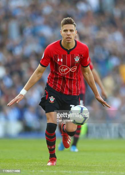 Jan Bednarek of Southampton during the Premier League match between Brighton Hove Albion and Southampton FC at American Express Community Stadium on...