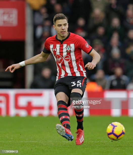 Jan Bednarek of Southampton passes the ball during the Premier League match between Southampton FC and Cardiff City at St Mary's Stadium on February...