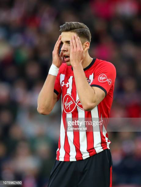 Jan Bednarek of Southampton reacts during the Premier League match between Southampton FC and Manchester City at St Mary's Stadium on December 30...