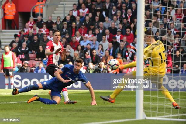 Jan Bednarek of Southampton scores a goal to make it 2-0 during the Premier League match between Southampton and Chelsea at St Mary's Stadium on...