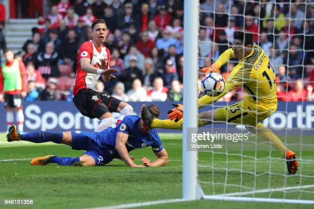 Jan Bednarek of Southampton scores his sides second goal during the Premier League match between Southampton and Chelsea at St Mary's Stadium on...