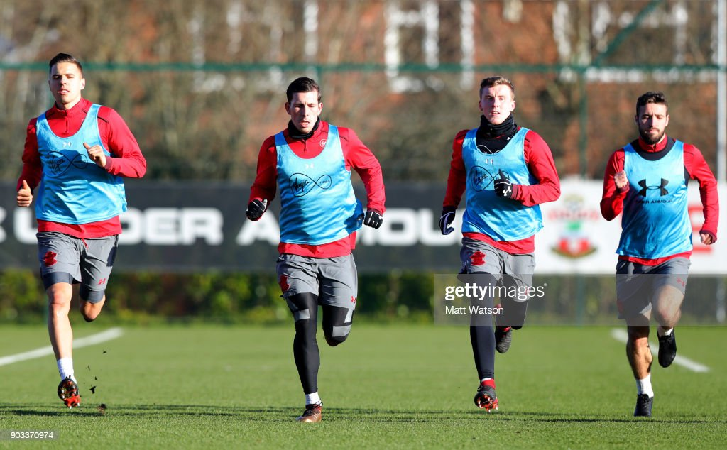 Jan Bednarek, Pierre-Emile Hojbjerg, Matt Targett, Sam McQueen of Southampton FC during a training session at the Staplewood Campus on January 10, 2018 in Southampton, England.
